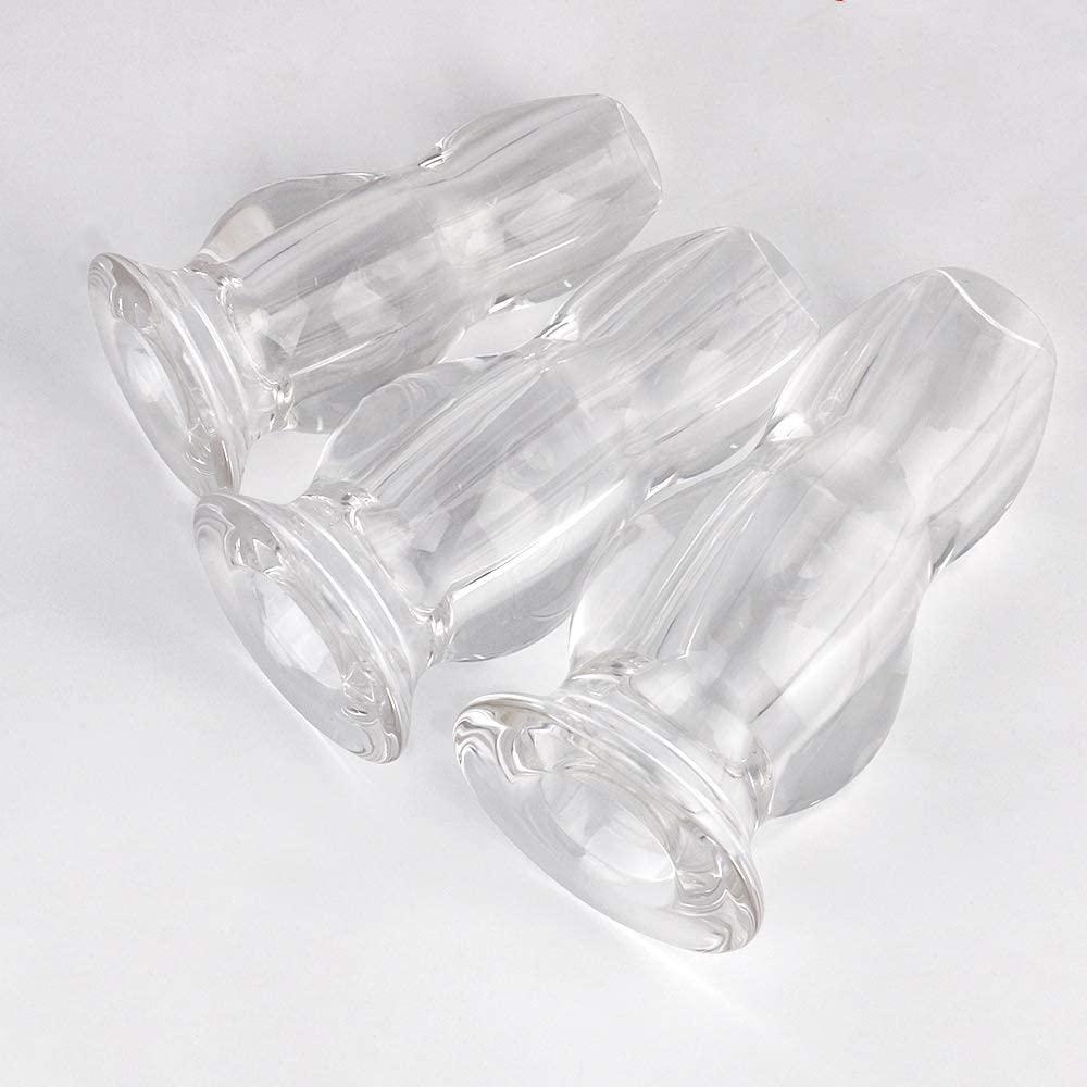 HENNIUA 3pcs Glass Amal Plug Pennis Butte Beads Crysta Transparent Crystal Smooth Glass Pleasure