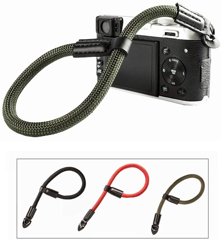 Kiwochy Camera Rope Adjustable Camera Lanyard Wrist Quick Release Camera Hand Strap Wrist Strap in Miniature SLR Cameras and Digital SLR Cameras Leather Ends and Electroplated Mounting Rings Green