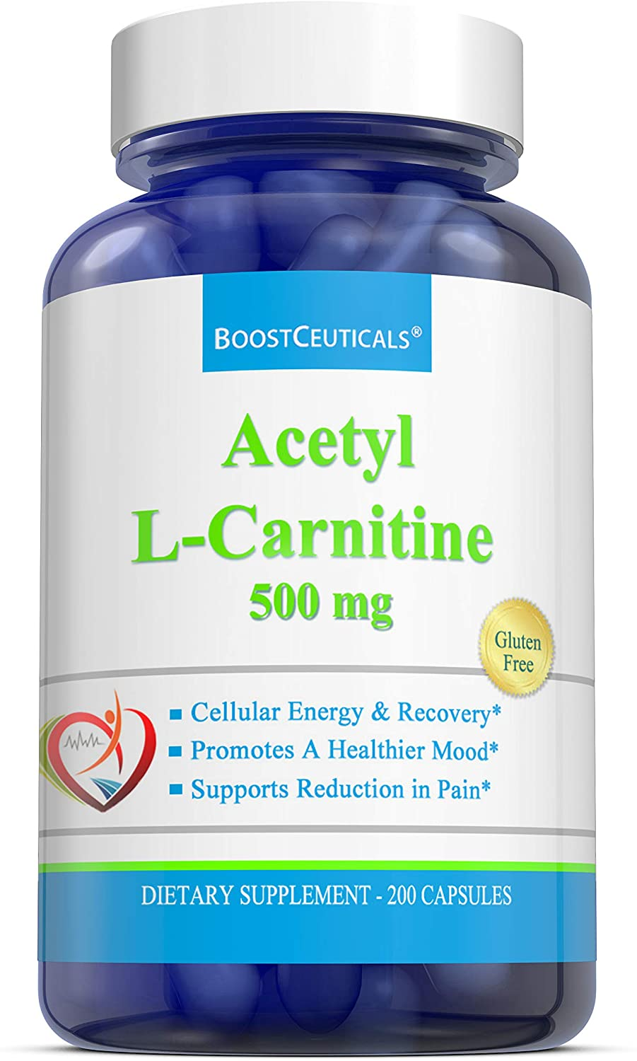 Acetyl L Carnitine 1000 mg Daily Dose 200 Capsules - No Additives Non-GMO Gluten Free Supplement - Pure Natural L Carnitine 500mg Capsules by BoostCeuticals