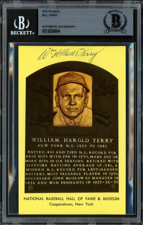 Bill Terry Autographed HOF Plaque Postcard New York Giants Beckett BAS #12059904