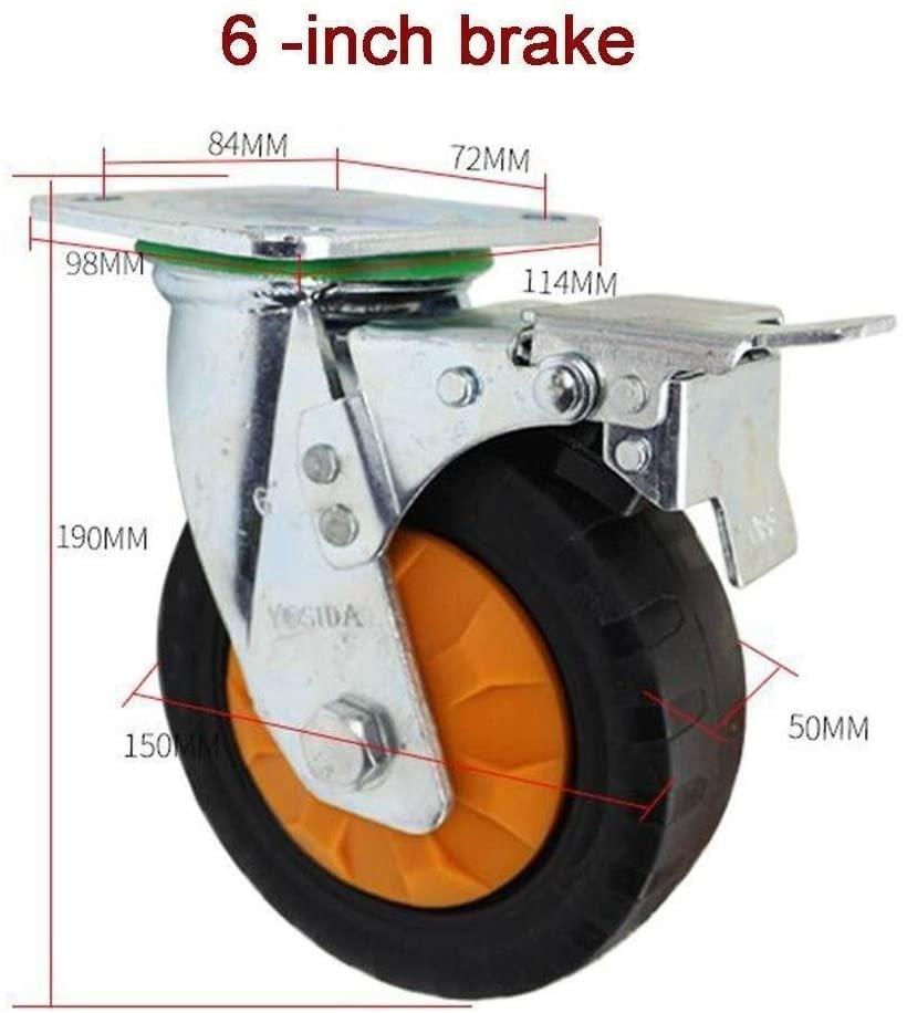 Swivel Wheel,Rubber Furniture 4/5/6/8 Inch Heavy Duty Industrial Wheel Castors (Color : 6 inch, Size : Brake)