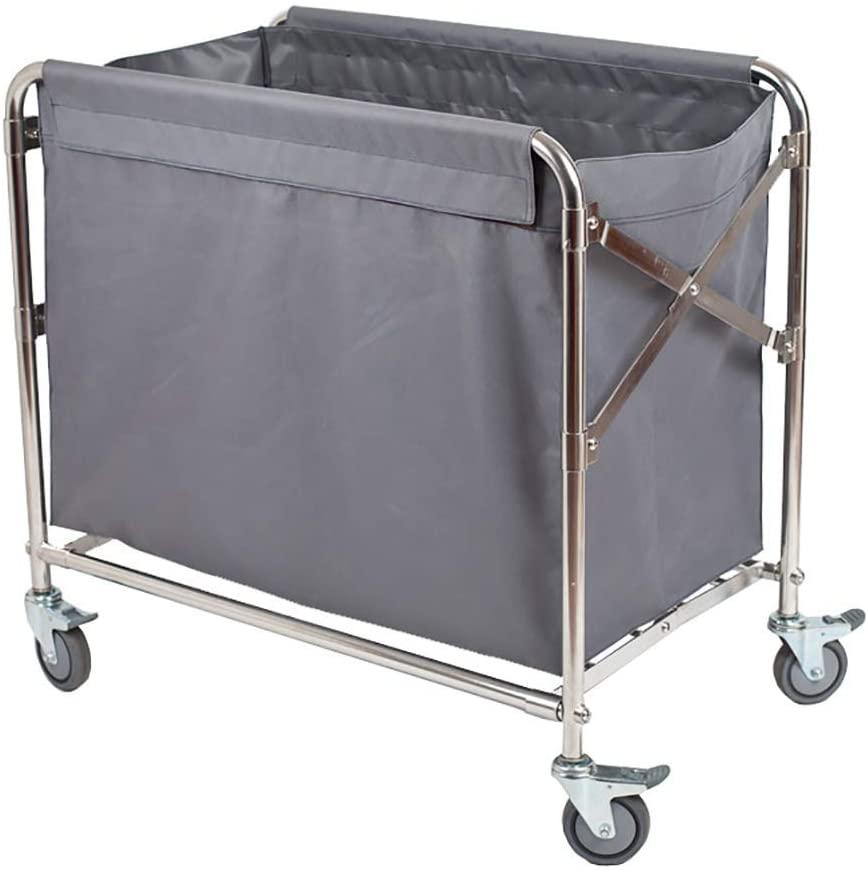 KFDQ Medical Supplies Rack,Hospital Trolley,Medical Cart Tool Folding Linen Cart with Ppr Universal Wheel, Grey Hotel/Lobby Storage Trolley, Space Saving & Practical Rolling Trolley
