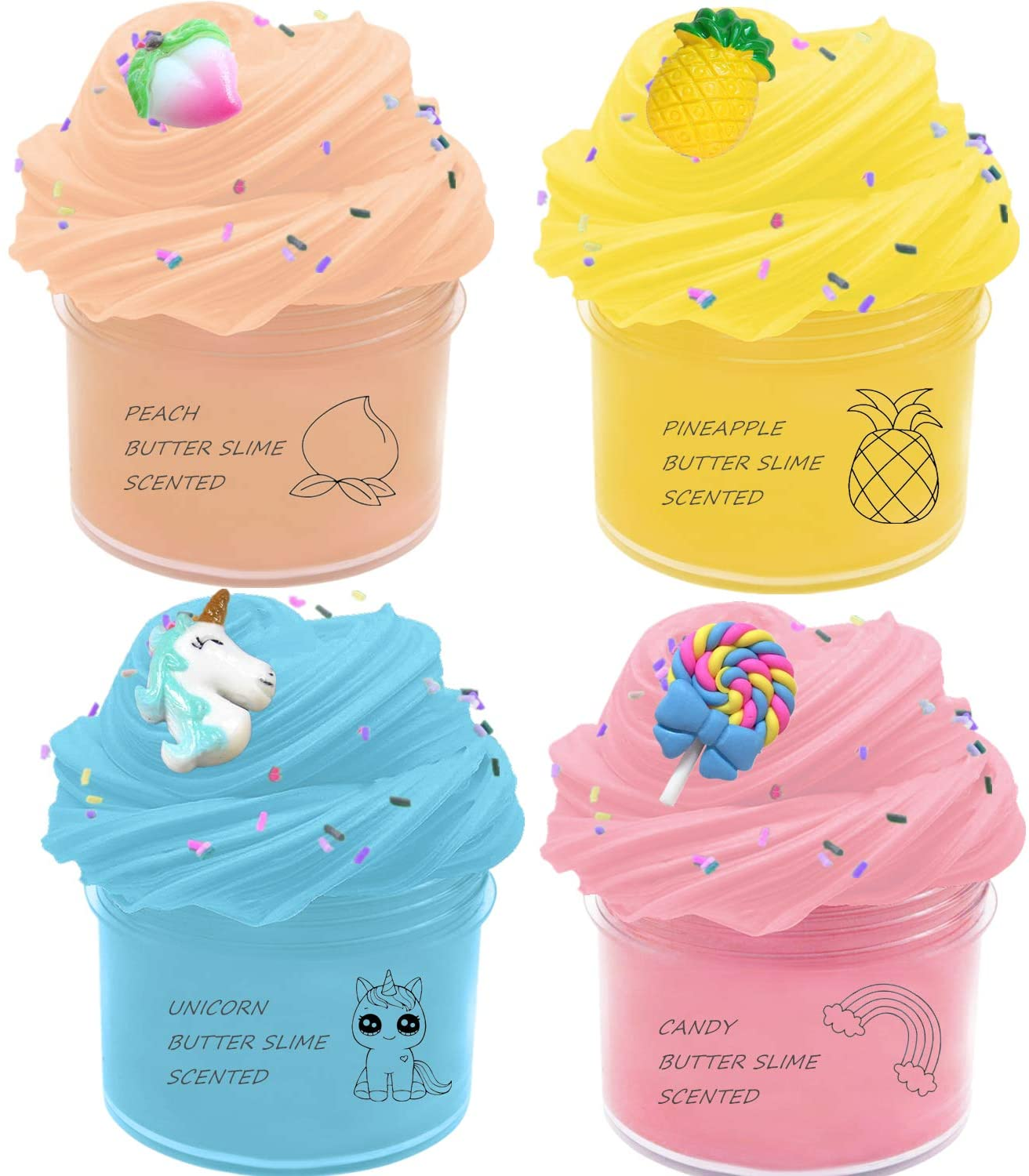 Q-BABY 4 Pack Fluffy Slime Scented Unicorn Butter Slime Stretchy Non-Sticky Cotton Slime, Stress Relief Toy Kids Art Crafts Gift for Boys Girls