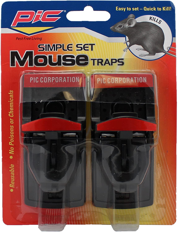 Pic PMT2 Plastic Mouse Trap, 2-Pack