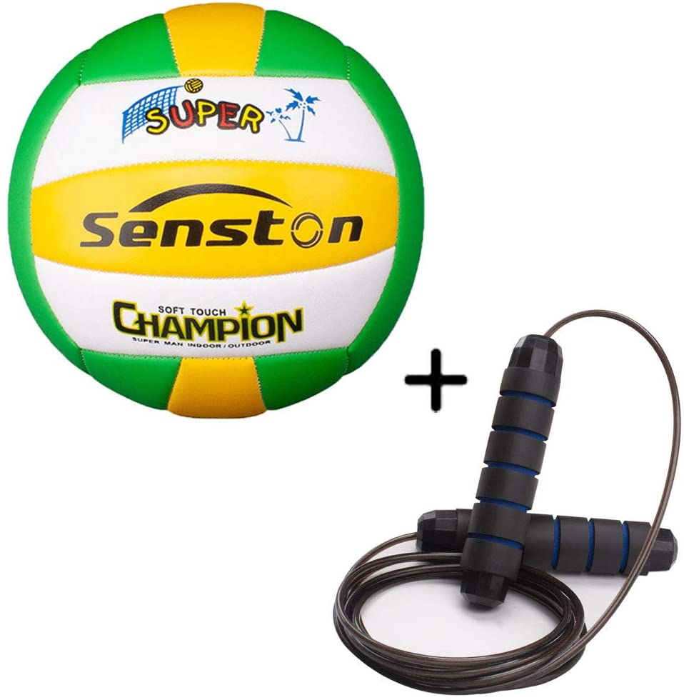 Senston Soft Volleyball Official Size 5 and Tangle-Free Jumpe Rope
