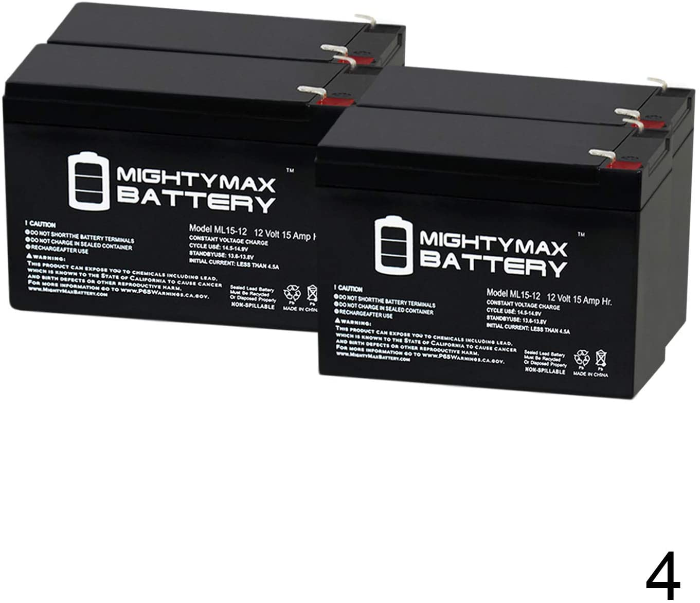 Mighty Max Battery ML15-12 12V 15AH F2 Wheelchair Scooter Btty Replaces Interstate DCM0012-4 Pack Brand Product