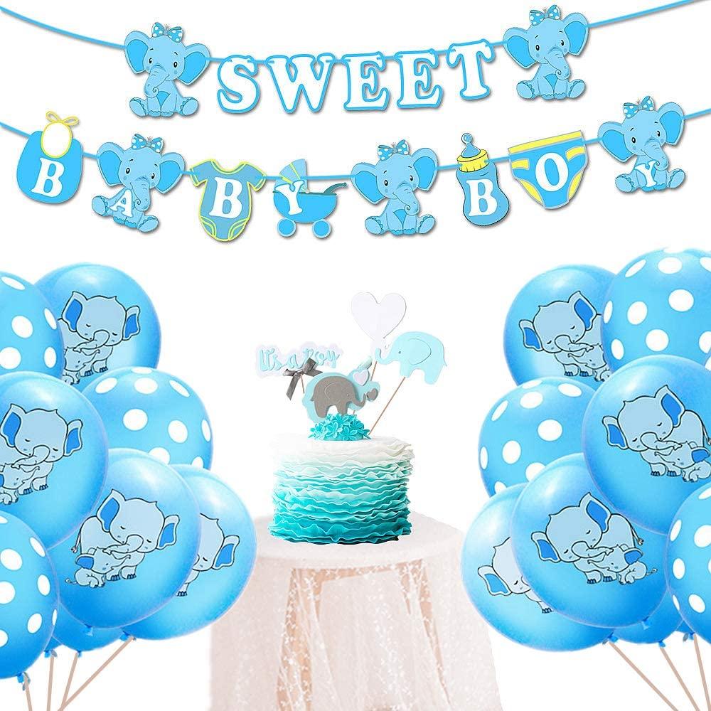 LaVenty Set of 22 Blue Baby Shower Elephant Decoration Its a Boy Baby Shower Decorations Baby Boy Balloon Its A Boy Cake Topper Baby Elephant Balloon Baby Shower Decoration for Boy