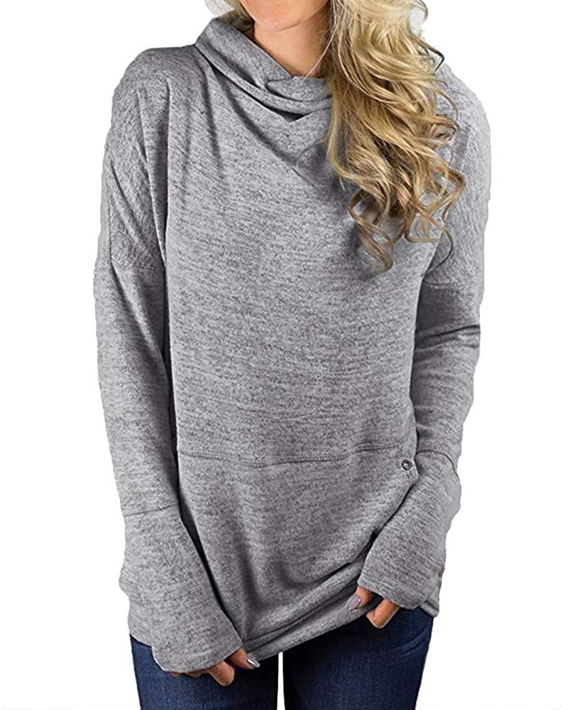Kangma Women Striped Long Sleeve Pile Neck Drawstring Pullover Top Sweatshirt Pockets