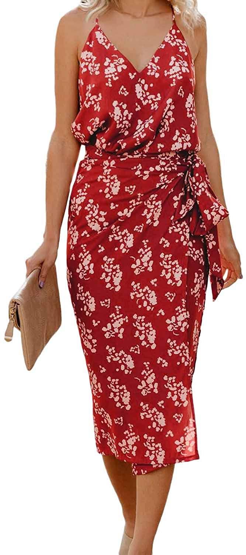 Itsmode Women V Neck Leopard Printed Spaghetti Strap Summer Midi Dress Split Casual Beach Dress