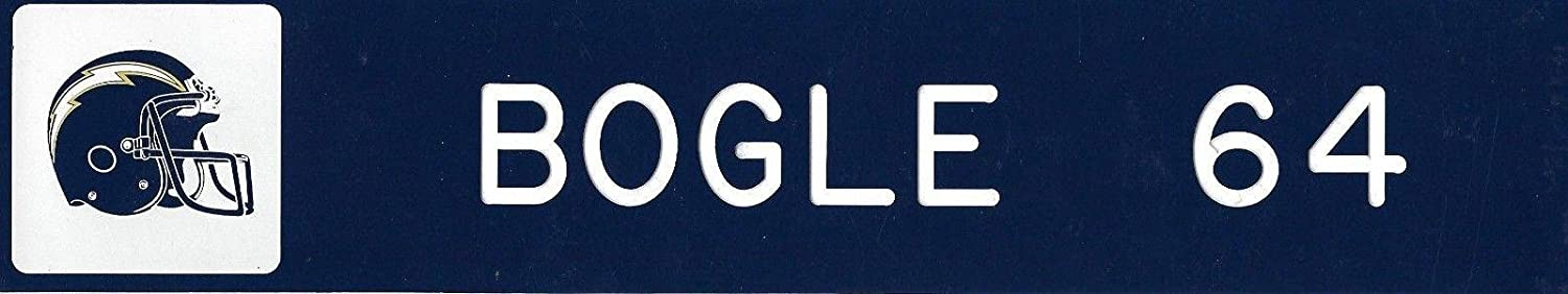 Phil Bogle Game Used 2003 2004 Chargers Football Locker Name Plate #64 Soul GM - NFL Game Used Footballs