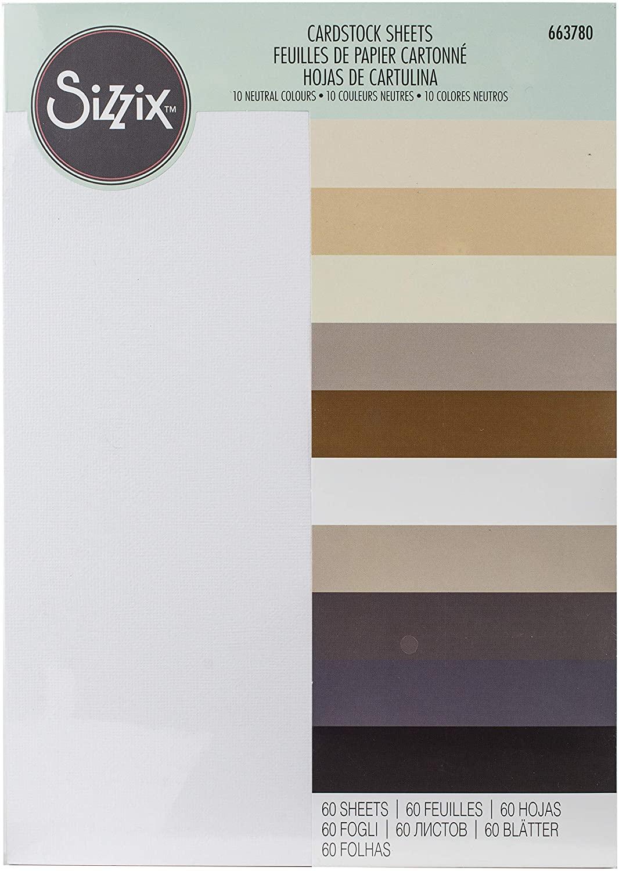 Sizzix Surfacez-Making Essential Cardstock Sheets 60PK (10 Colours Neutrals), Multicolour