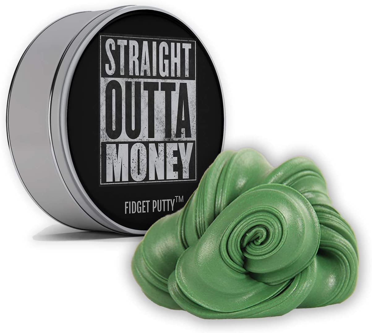 Straight Outta Money Fidget Putty - Gag Gift for Adults, Stocking Stuffers, Fidget Toys, Pearl Green Therapy Putty