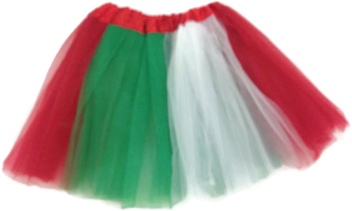 Rush Dance Colorful Ballerina Girls Dress-Up Princess Costume Recital Tutu (Kids 3-8 Years, Red/White/Kelly Green (Xmas))