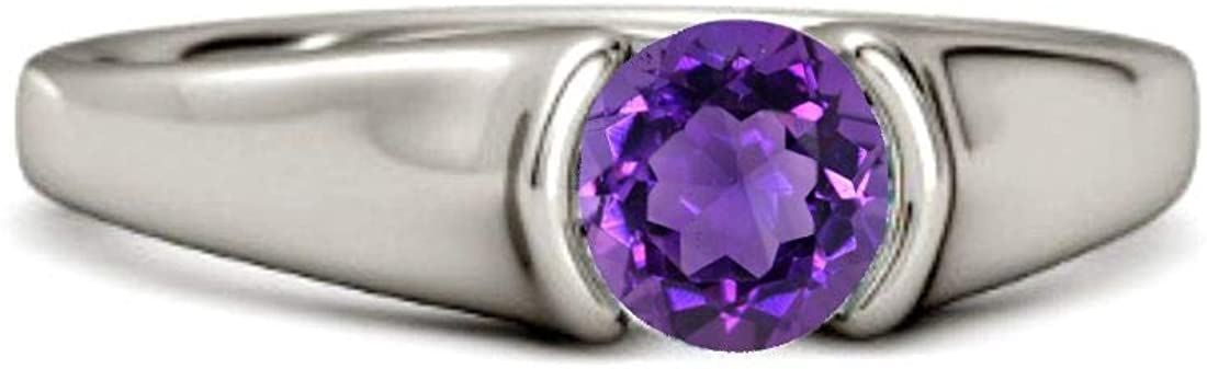 925 Sterling Silver with Amethyst Round Gemstone Fine Ring