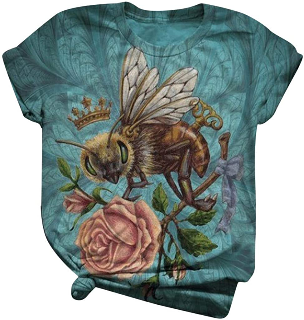 Alangbudu Women Summer Fashion Short Sleeve T Shirt Casual Blouse Print Tops Graffiti Graphic Fashion Round Neck Tunic