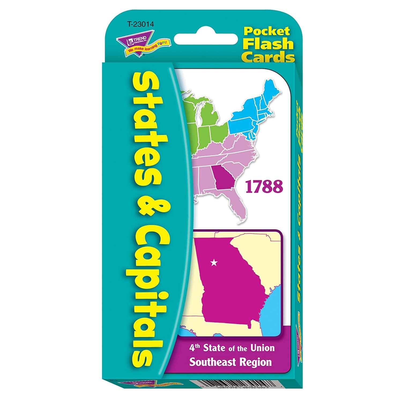 TREND Enterprises, Inc. T-23014BN States & Capitals Pocket Flash Cards, 12 Sets