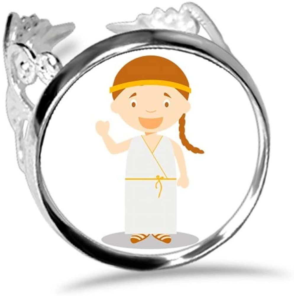 DIYthinker Long White Dress Greece Cartoon Ring Adjustable Love Wedding Engagement