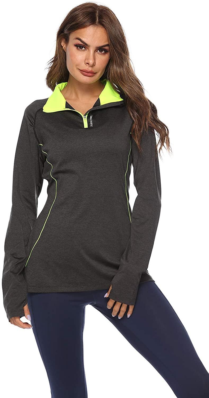 Women's Long Sleeve Half-Zip Shirt Sweat Shirt Running Workout Track Jacket with Thumb Holes Zip up Women