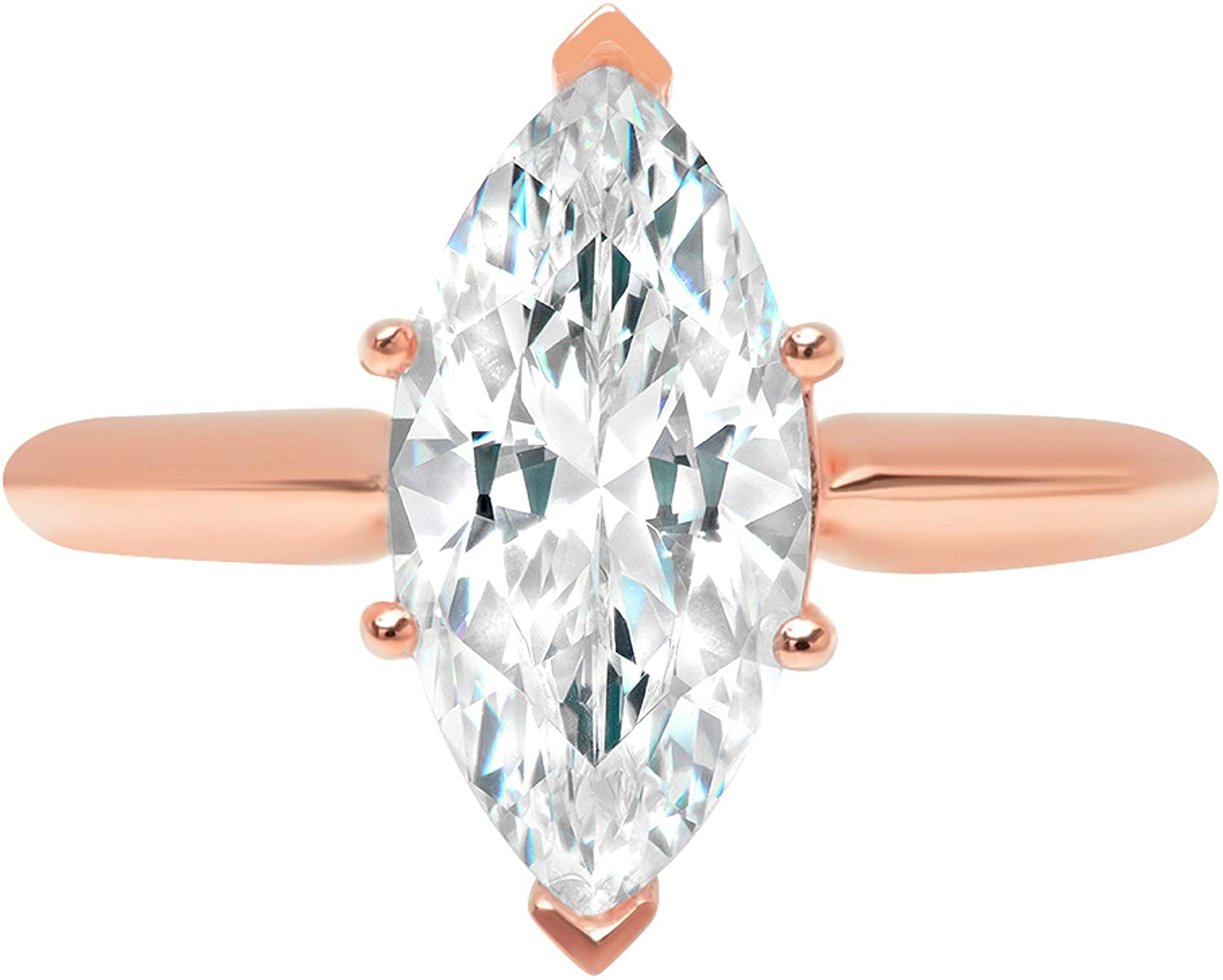 2.50 ct Brilliant Marquise Cut Solitaire Highest Quality Moissanite Ideal VVS1 D 6-Prong Engagement Wedding Bridal Promise Anniversary Ring in Solid Real 14k Rose Gold for Women