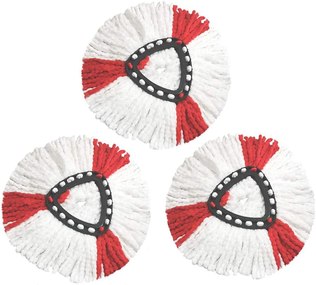 Replacement Mop Heads Refill for EasyWring and Clean Turbo Magic Mop Microfibre Triangle mop Head White and Red