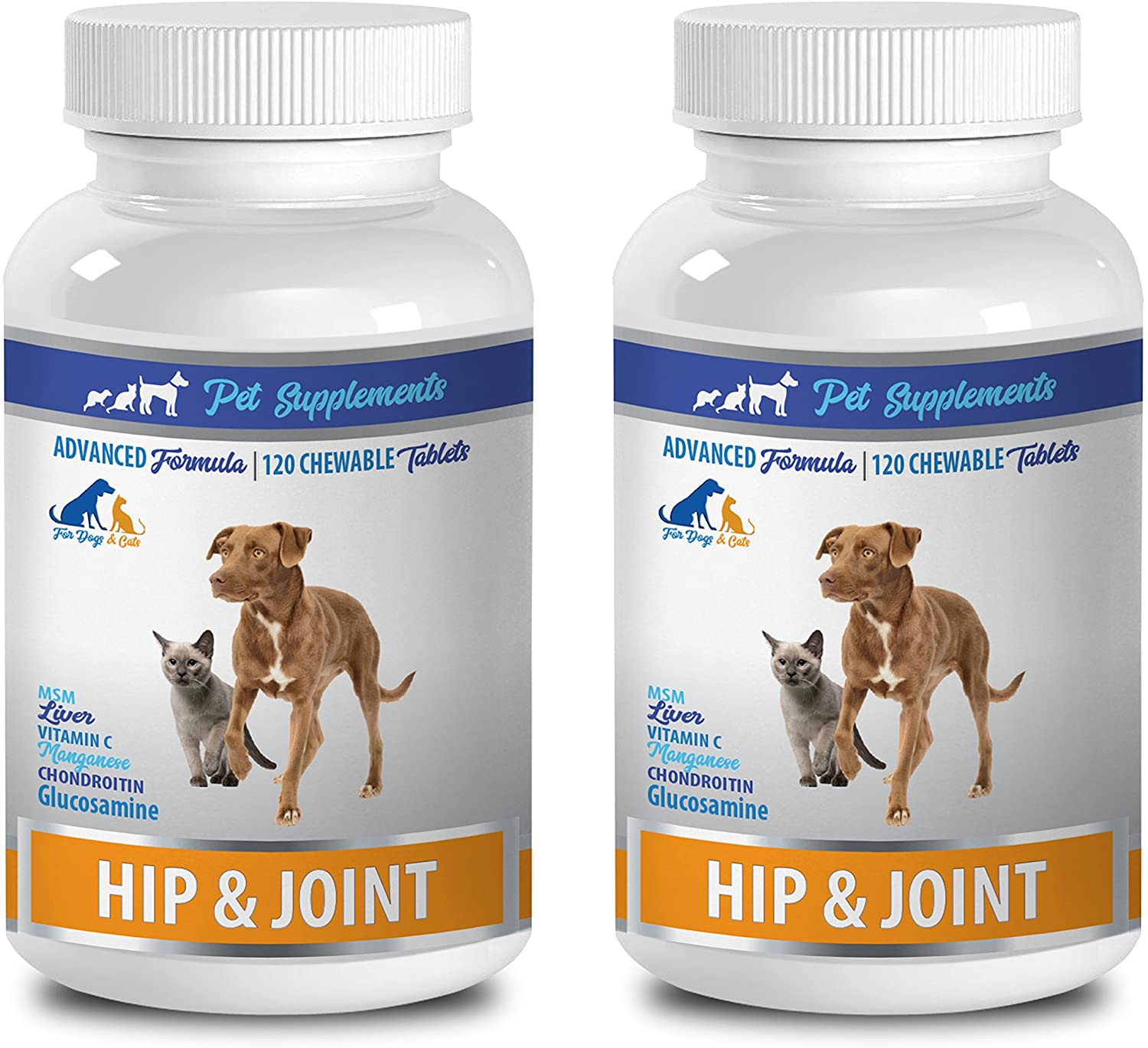 Pet Supplements joint health for cats - PET HIP AND JOINT CARE - FOR CATS AND DOGS - HEALTHY CHOICE - CHEWY TREAT - cat vitamins senior - 2 Bottle (240 Chews)