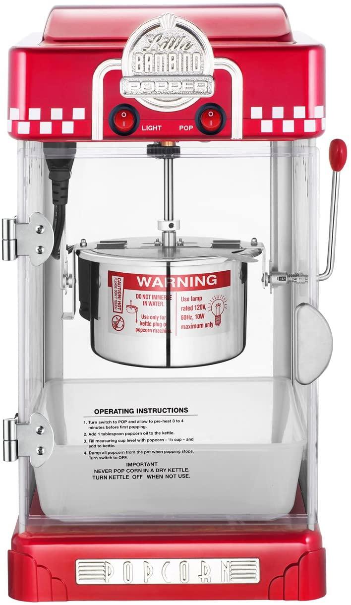6073 Great Northern Red Little Bambino Table Top Retro Machine Popcorn Popper, 2.5oz