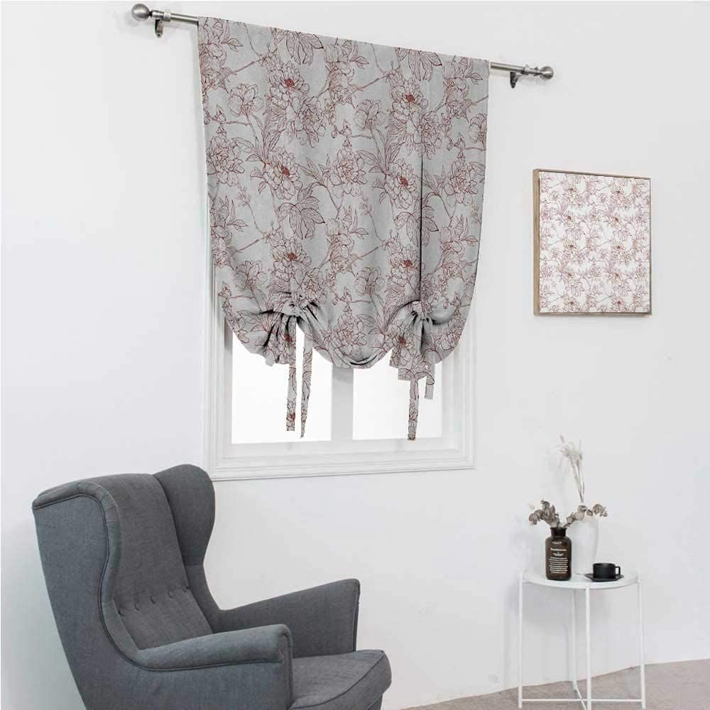 GugeABC Tie Up Curtains for Windows Vintage Roman Window Shades for Window Rustic Sprigs with Wild Peonies Nature Inspired Garden Pattern Vintage Look 39