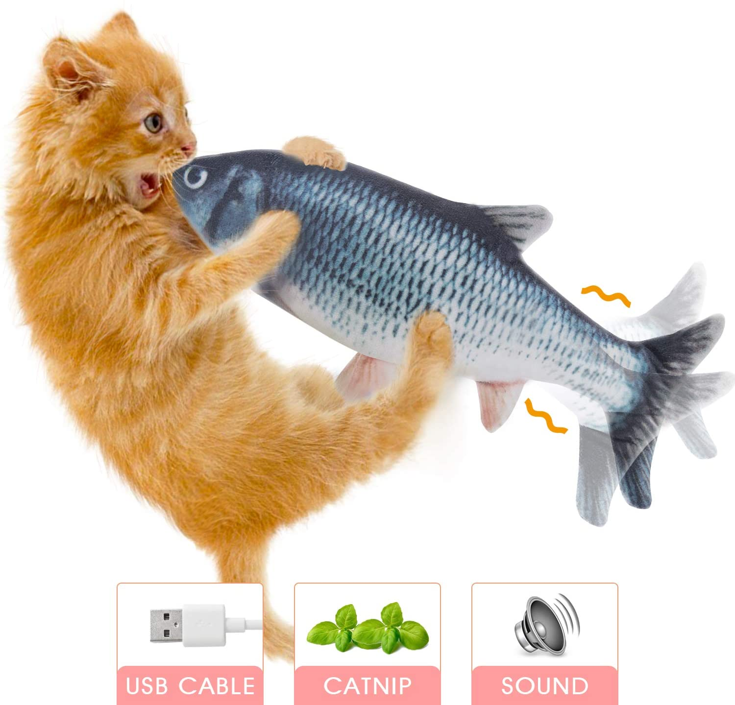 Hot Bee Electric Moving Fish Cat Toys - Realistic Flopping Indoor Interactive Cat Toy Kiker Catnip Toys for Cat Kitten Kitty Pets