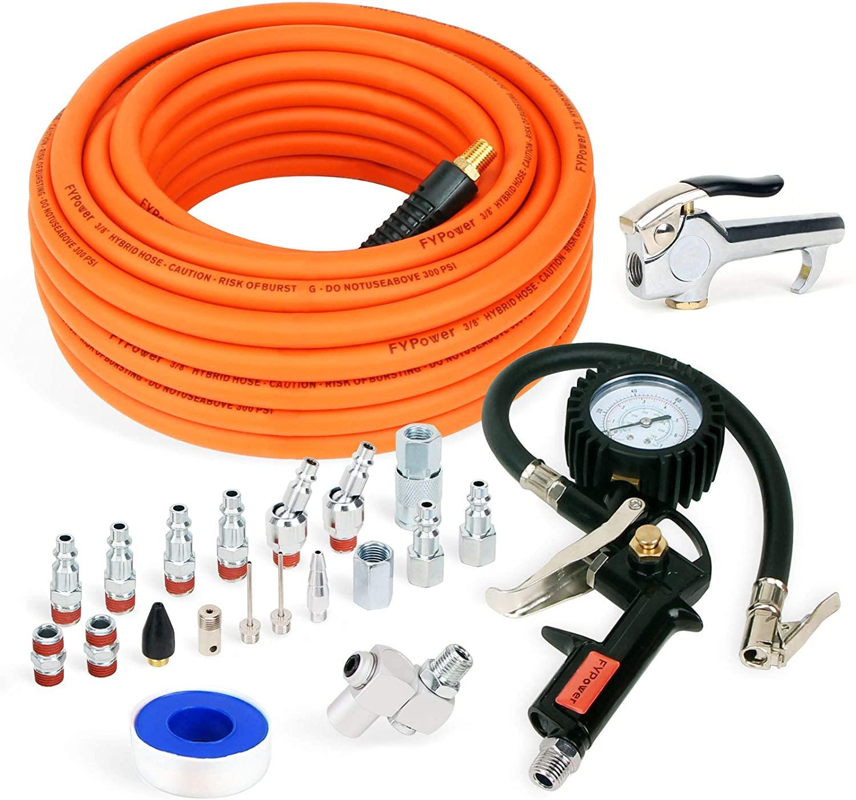 FYPower 22 Pieces Air Compressor Accessories kit, 3/8 inch x 50 ft Hybrid Air Compressor Hose Kit, 1/4
