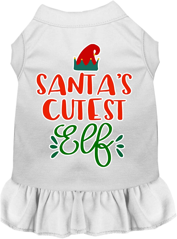Mirage Pet Product Santa's Cutest Elf Screen Print Dog Dress White Med