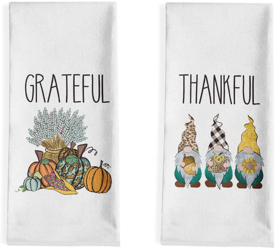 Artoid Mode Thankful Gnomes and Grateful Pumpkin Kitchen Dish Towels, 18 x 28 Inch Fall Autumn Harvest Holiday Ultra Absorbent Drying Cloth Tea Towels for Cooking Baking Set of 2