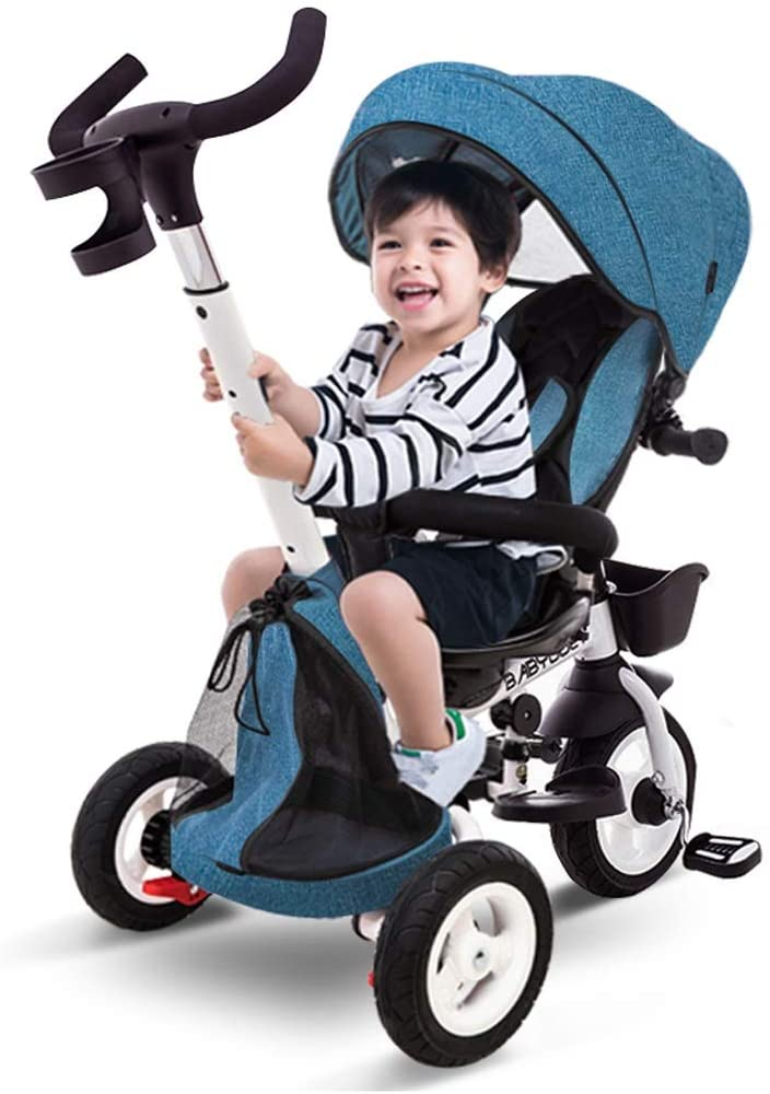 Moolo Kids' Tricycle, Children Ankle Baby Three Wheelers First Trike Pedal Outdoor 360 Degrees Rotated 1/3/5 Years Old (Color : Blue)