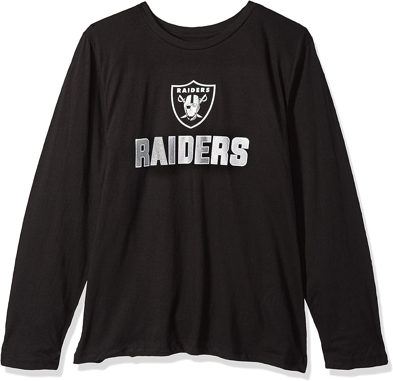 NFL Oakland Raiders Women L/S SCOOP NECK TEE, BLACK, 1X