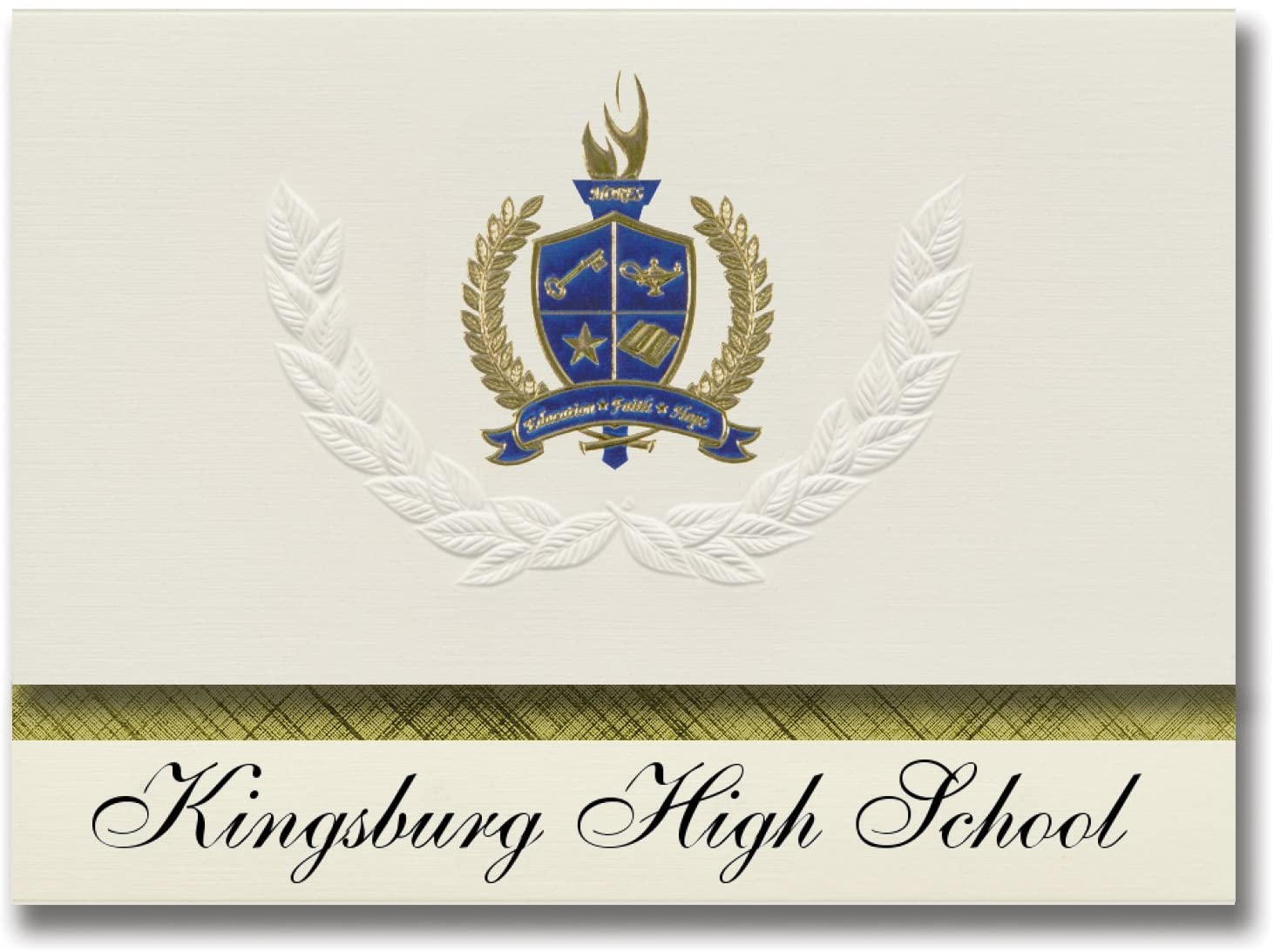 Signature Announcements Kingsburg High School (Kingsburg, CA) Graduation Announcements, Presidential style, Basic package of 25 with Gold & Blue Metallic Foil seal