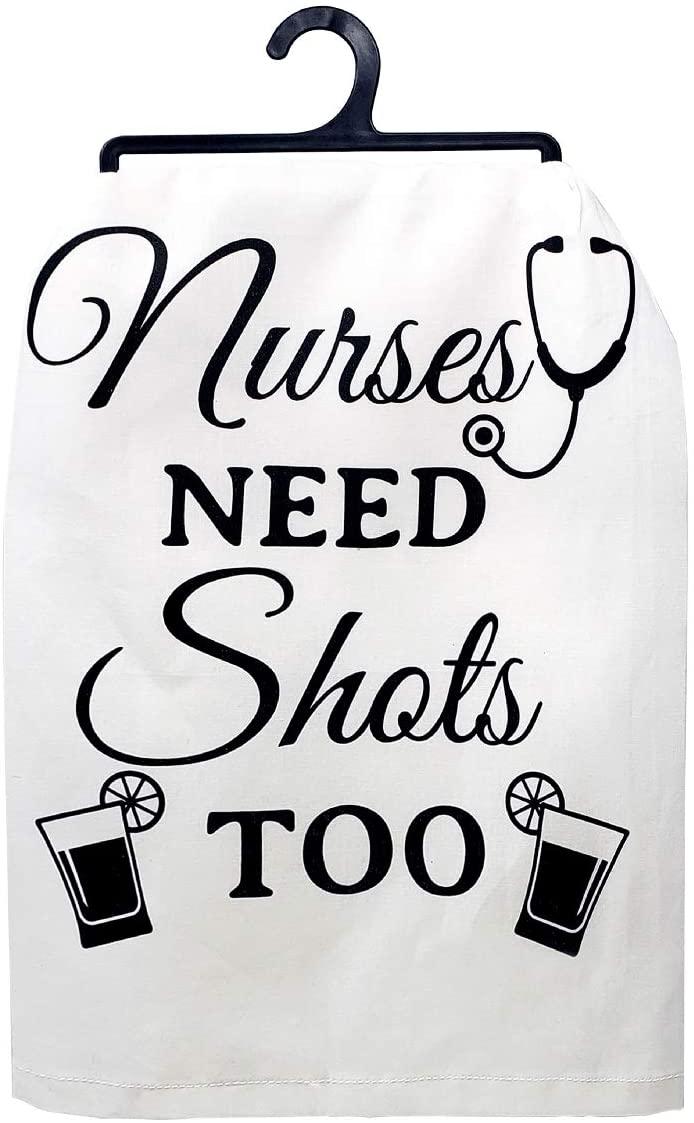 JennyGems - Nurses Need Shots Too - Dish Towel - Tea Towel - Kitchen Towel - Gifts for Nurses - Linen with Sayings - Nurse Gift - Funny Gifts for Nurses - Nurse Graduation Gift