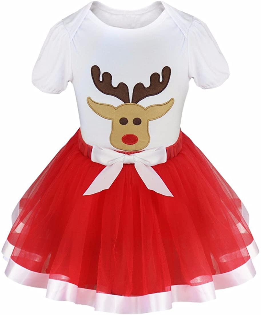 Freebily Baby Girls Christmas Reindeer Tops Tshirt with Tutu Skirt Outfits