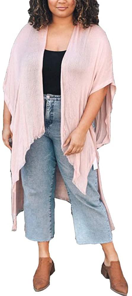 Women's Frayed Trim Arm Hole Loose Tops Kimono Floral Print Cardigan