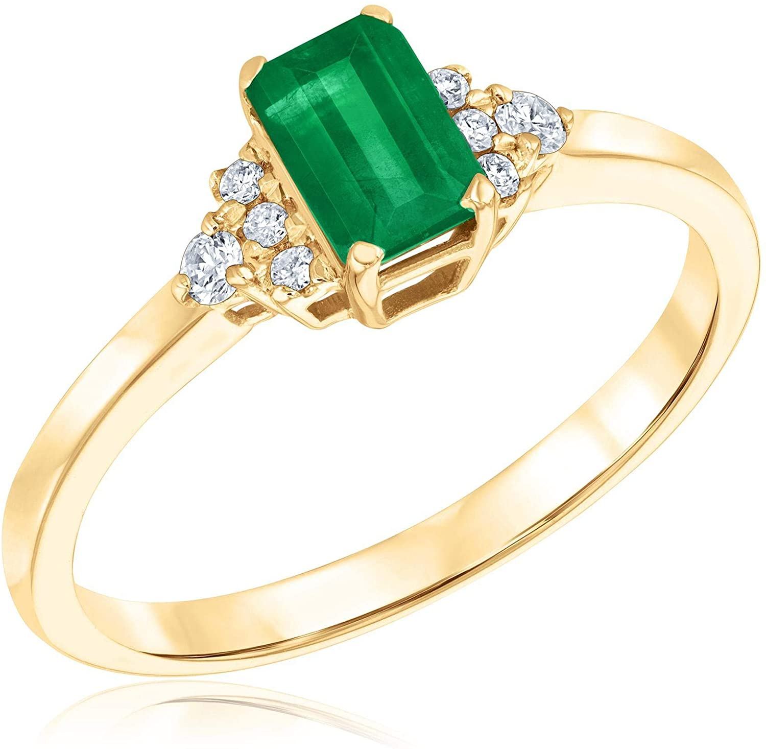 Emerald with Diamond Accents Ring