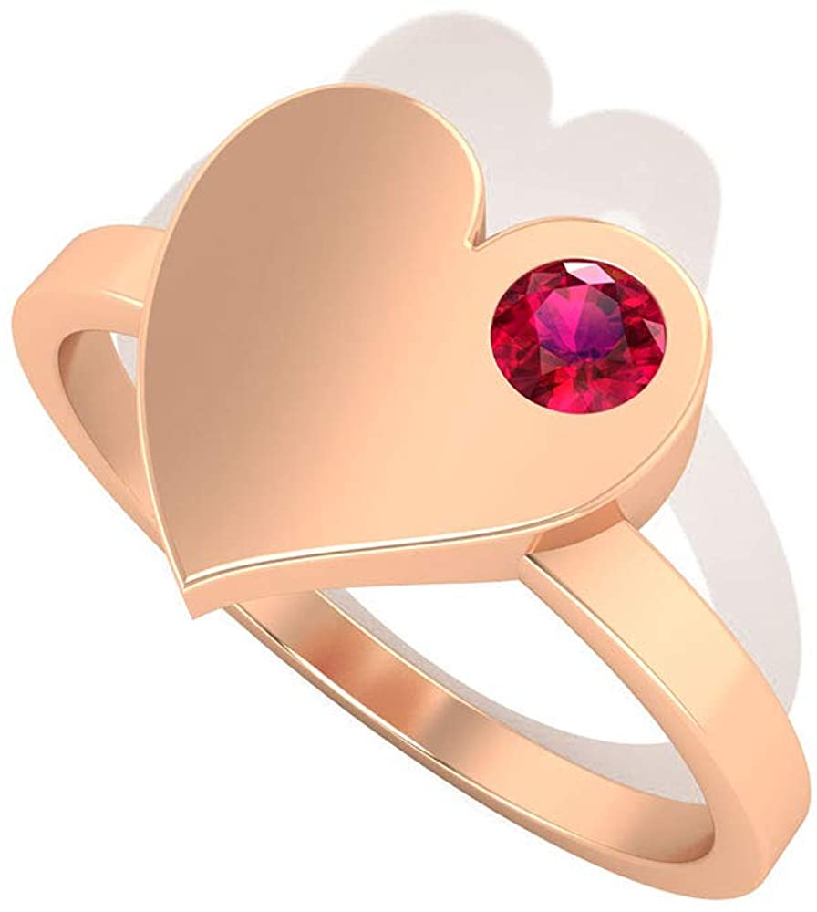 0.15 CT Tiny Solitaire SGL Certified Ruby Heart Wedding Ring, Solid 14k Gold Heart Red July Birthstone Bridal Ring, Birthday Anniversary Promise Rings