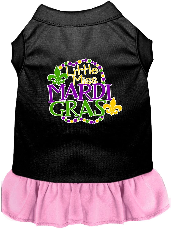 Mirage Pet Product Miss Mardi Gras Screen Print Mardi Gras Dog Dress Black with Light Pink XL