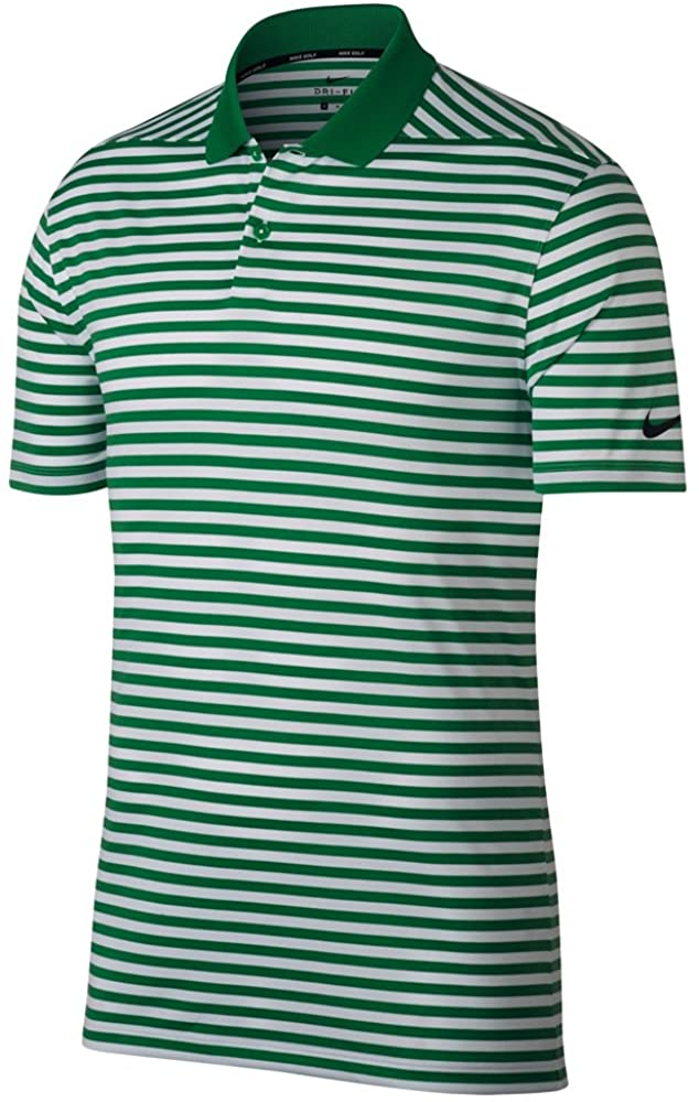 Nike New DRI FIT Victory Stripe Golf Polo Classic Green/White/Black Small