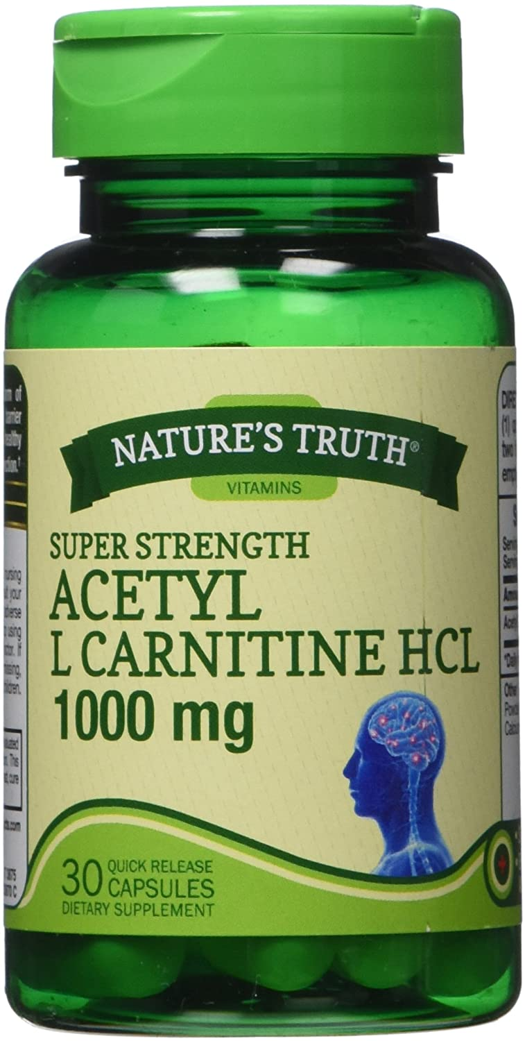 Natures Truth Super Strength Acetyl L-Carnitine Hcl 1000 mg Capsules, 30 Count
