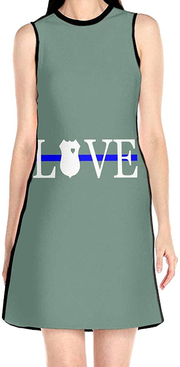 Thin Blue Line Love Police Women's Sleeveless Dress Casual Slim A-Line Dress Tank Dresses