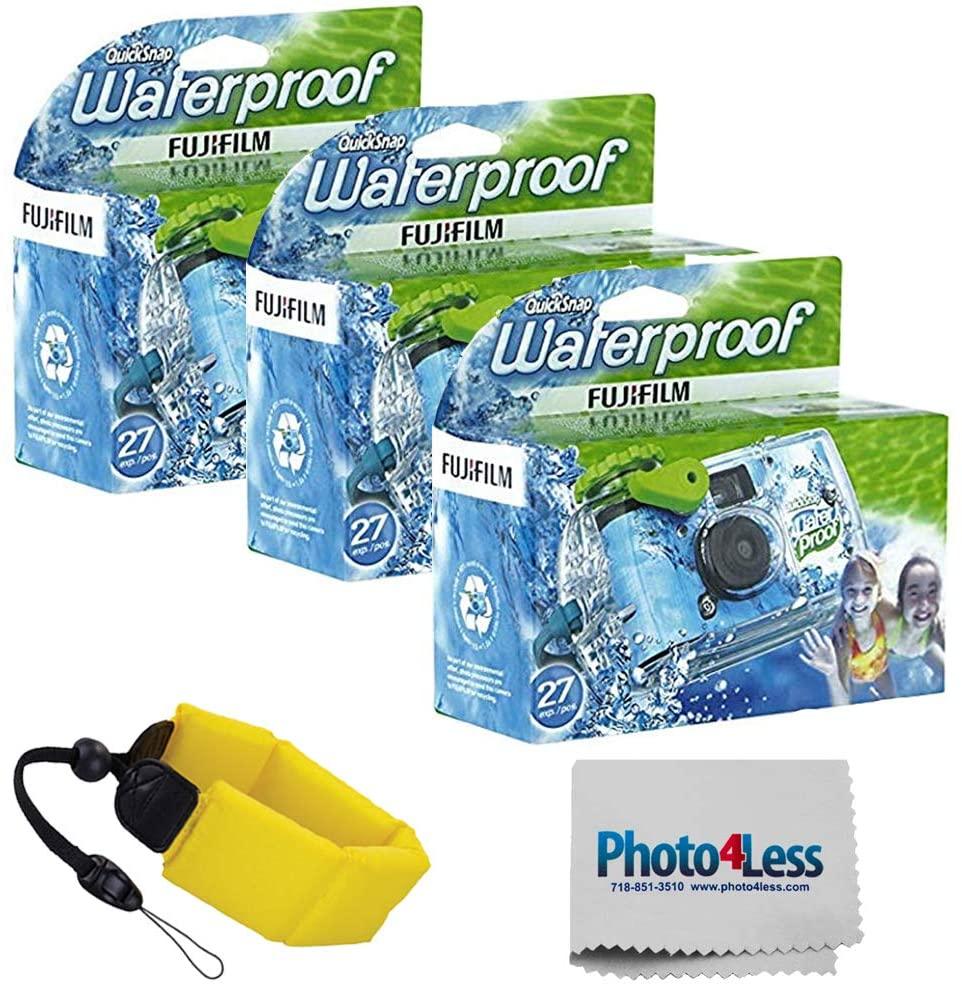 Fujifilm Quick Snap Waterproof 35mm Single Use Camera 3 Pack | Floating Foam Strap (Yellow)