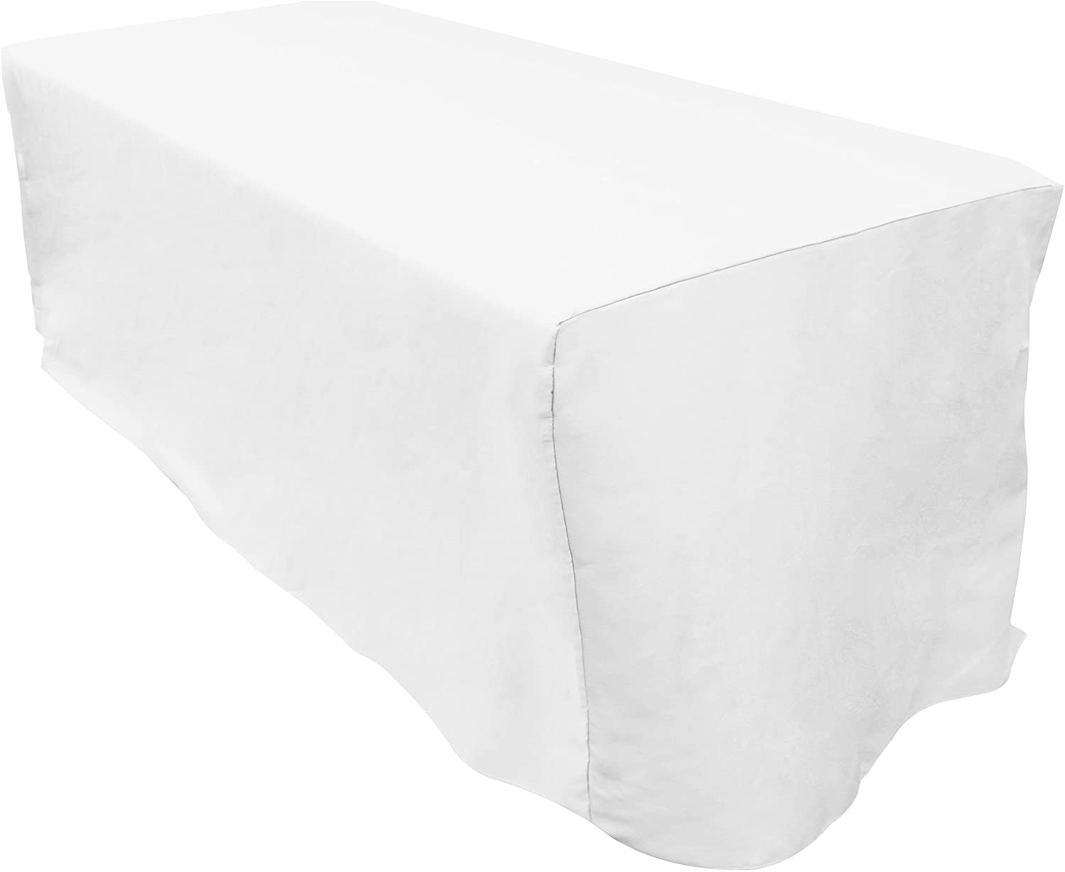 Zoyer 6 ft. Fitted Tablecloth - 6 Feet Rectangular Polyester Tablecloth 30 x 72 Inch Table Cover - White