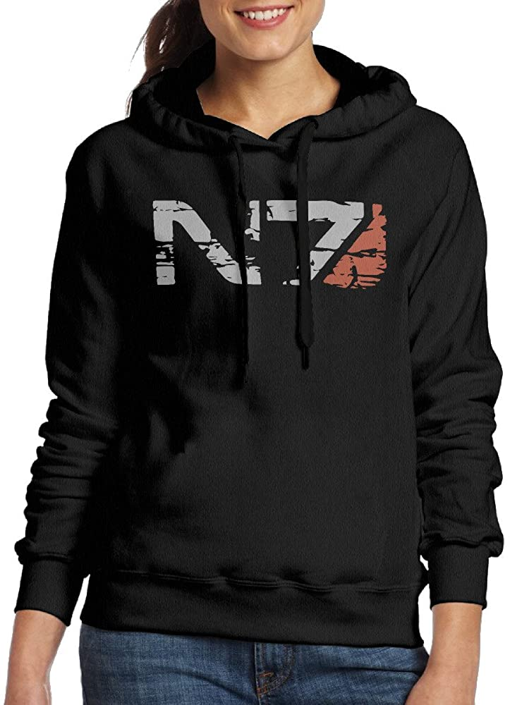 CURBABY SHIRT N7 Armor Mass Effect Women Long Sleeve Fleece Hoodie Black