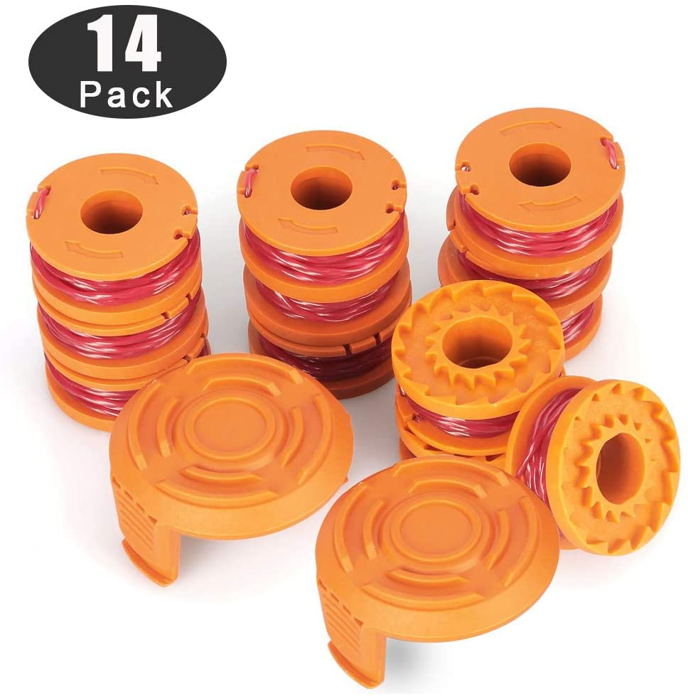 Line String Trimmer Replacement Spool for Worx WA0010 Autofeed System Replacement Durable Line (12 String Trimmer Line+2 Spool Cap)