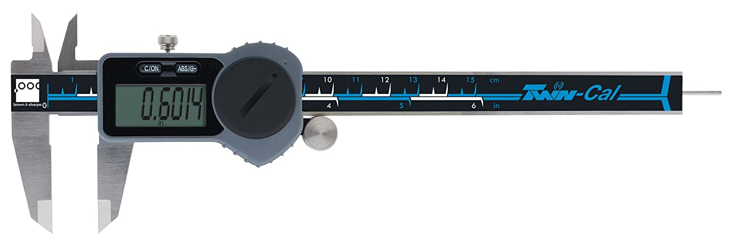 Brown & Sharpe 00590092 Twin-Cal IP40 Digital Caliper, 0-6 in/0-150 mm Range, 0.0005 in/0.01 mm Resolution, Round Depth Rod, Built in Wireless Functionality