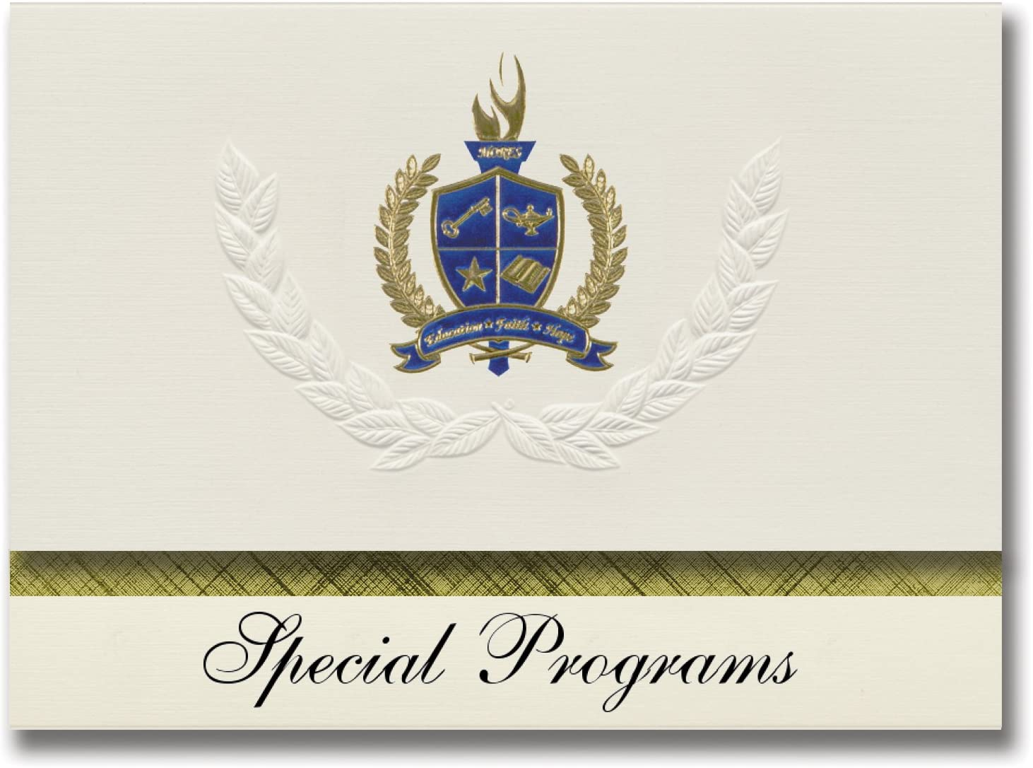 Signature Announcements Special Programs (Richland, WA) Graduation Announcements, Presidential style, Elite package of 25 with Gold & Blue Metallic Foil seal