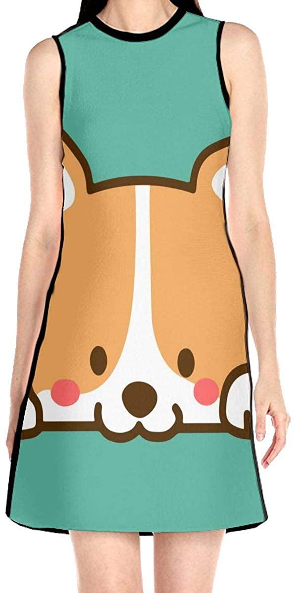Cute Corgi Dog Women's Sleeveless Dress Casual Slim A-Line Dress Tank Dresses